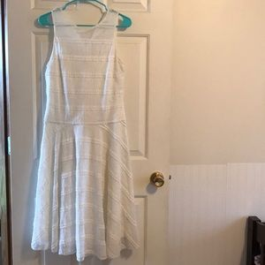 White lace mid calf length dress. NEVER WORN!!